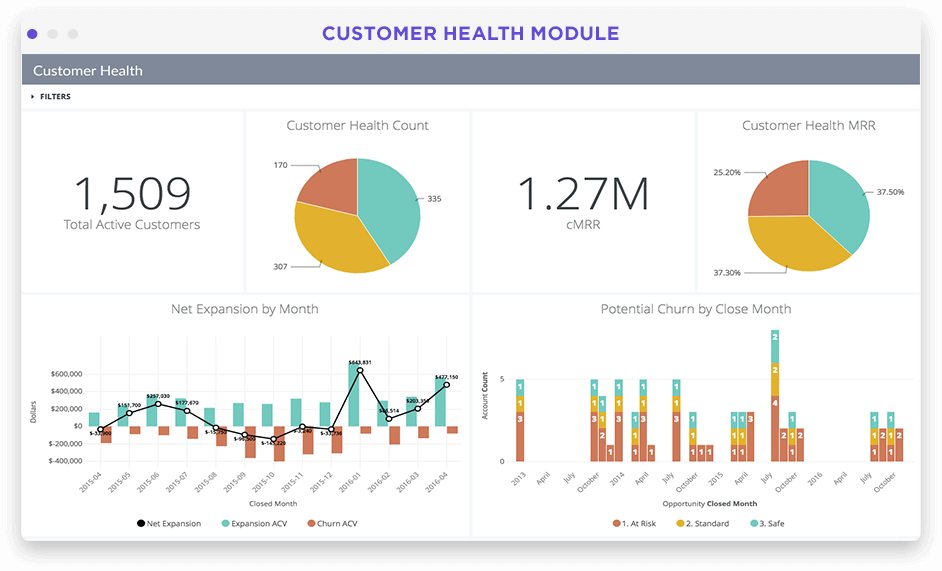 Customer health overview dashboard in Looker screenshot