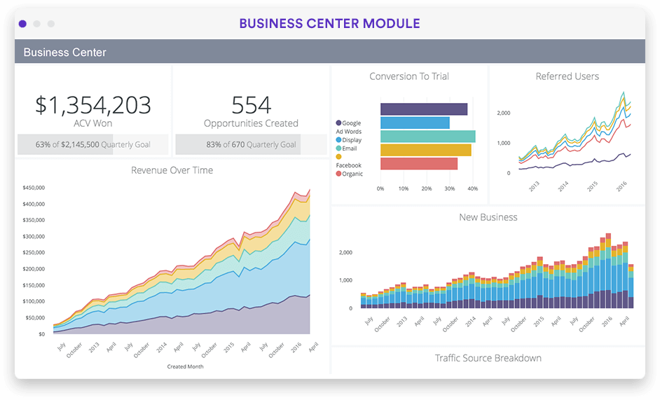 SaaS business analytics dashboard in Looker screenshot