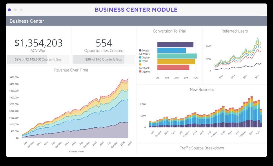 SaaS business analytics dashboard in Looker screenshot